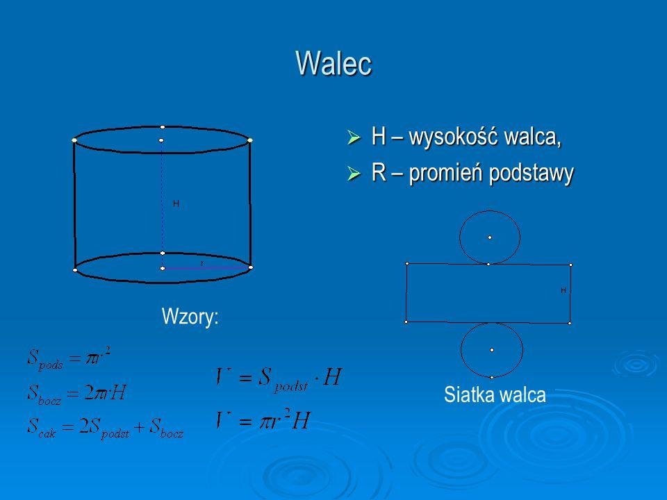 Walec H – wysokość walca, R – promień podstawy Wzory: Siatka walca
