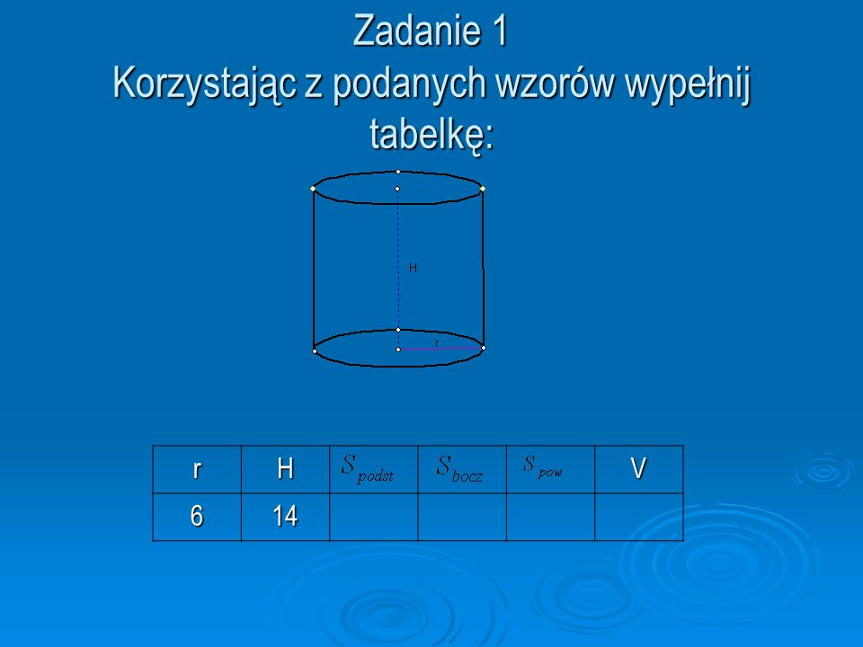 Zadanie 1 Korzystając z podanych wzorów wypełnij tabelkę: