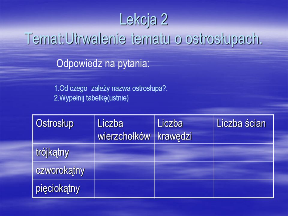 Lekcja 2 Temat:Utrwalenie tematu o ostrosłupach.