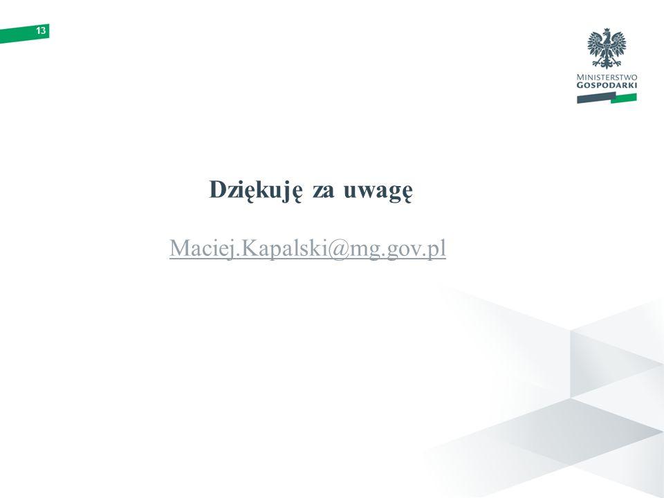 Dziękuję za uwagę Maciej.Kapalski@mg.gov.pl
