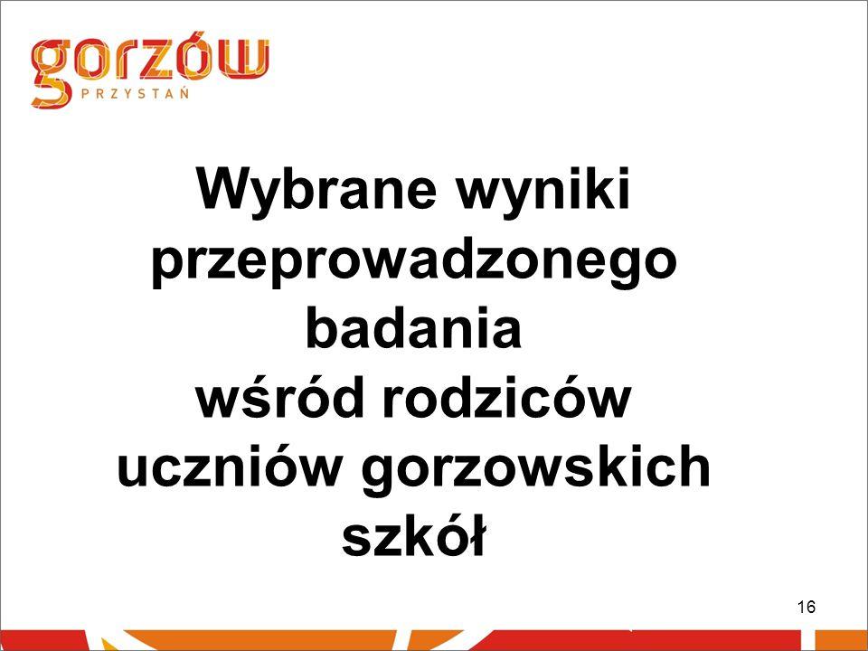 Wybrane wyniki przeprowadzonego badania wśród rodziców uczniów gorzowskich szkół