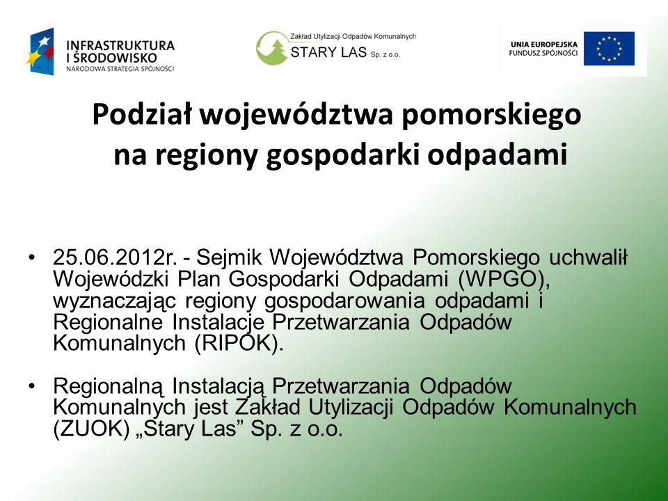 Podział województwa pomorskiego na regiony gospodarki odpadami