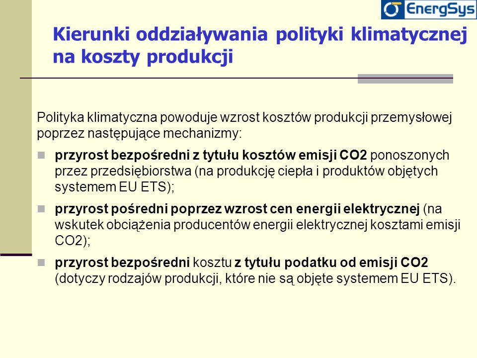 Kierunki oddziaływania polityki klimatycznej na koszty produkcji