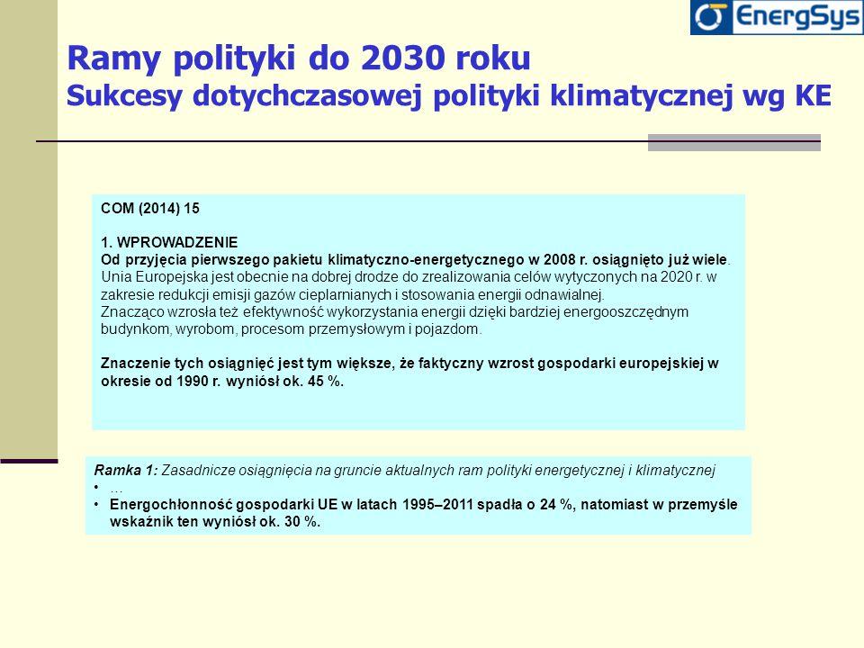 Ramy polityki do 2030 roku Sukcesy dotychczasowej polityki klimatycznej wg KE