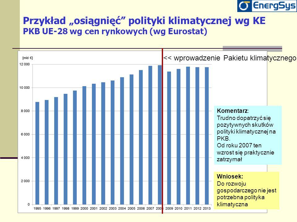 """Przykład """"osiągnięć polityki klimatycznej wg KE PKB UE-28 wg cen rynkowych (wg Eurostat)"""