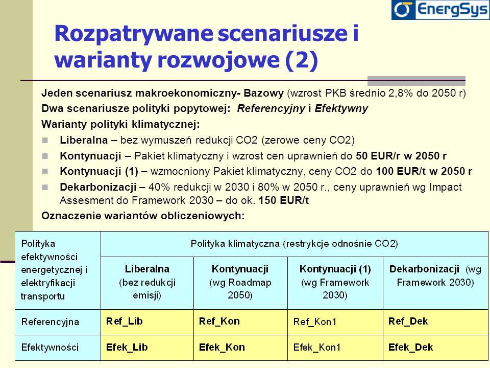 Rozpatrywane scenariusze i warianty rozwojowe (2)