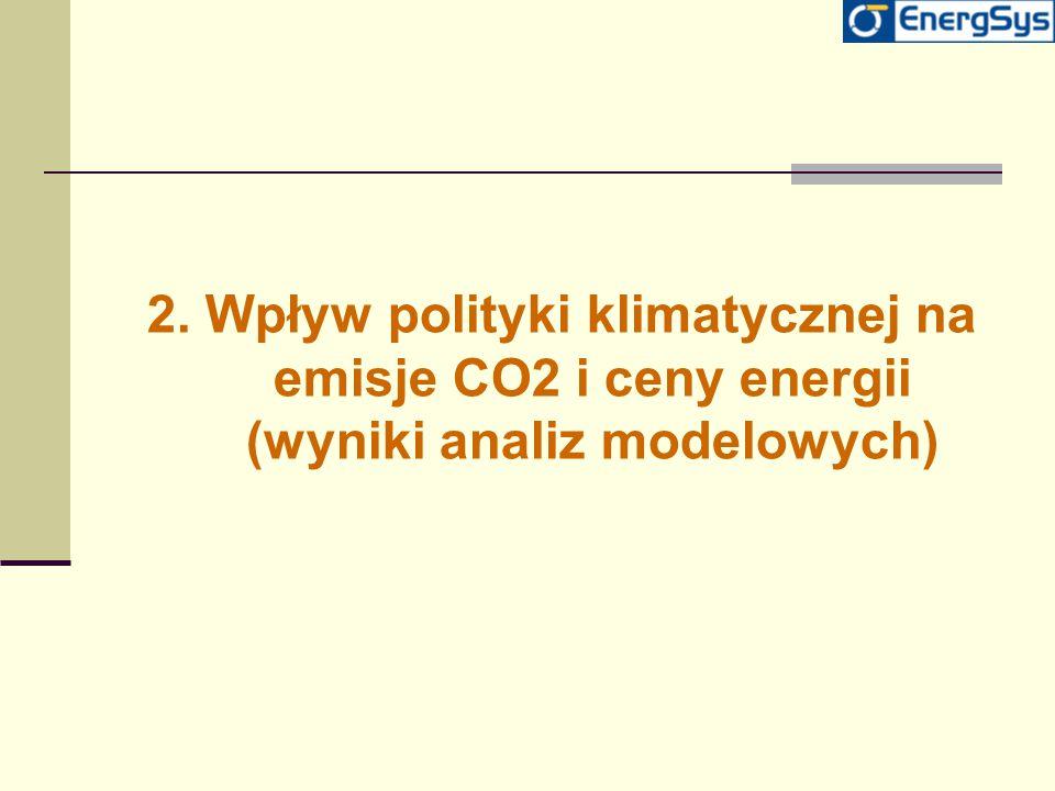 2. Wpływ polityki klimatycznej na emisje CO2 i ceny energii (wyniki analiz modelowych)