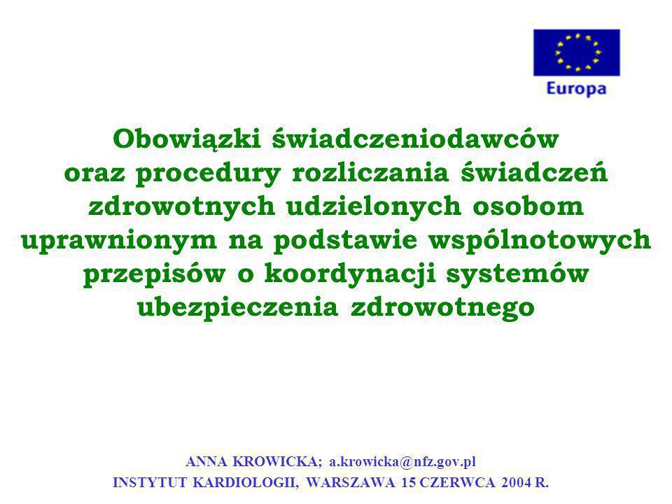 Obowiązki świadczeniodawców oraz procedury rozliczania świadczeń zdrowotnych udzielonych osobom uprawnionym na podstawie wspólnotowych przepisów o koordynacji systemów ubezpieczenia zdrowotnego