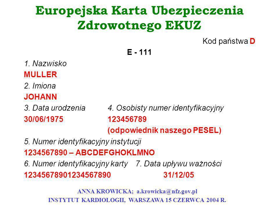 Europejska Karta Ubezpieczenia Zdrowotnego EKUZ