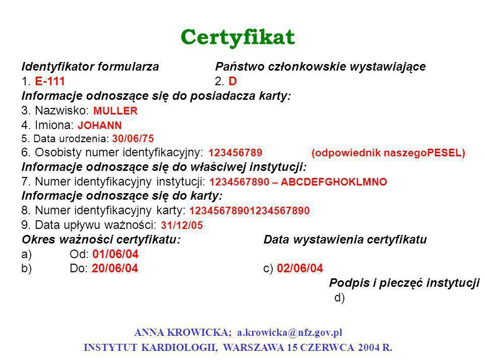Certyfikat Identyfikator formularza Państwo członkowskie wystawiające