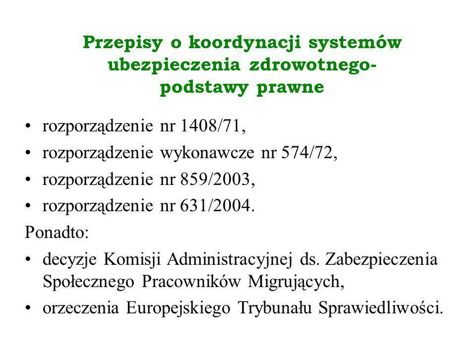 Przepisy o koordynacji systemów ubezpieczenia zdrowotnego- podstawy prawne