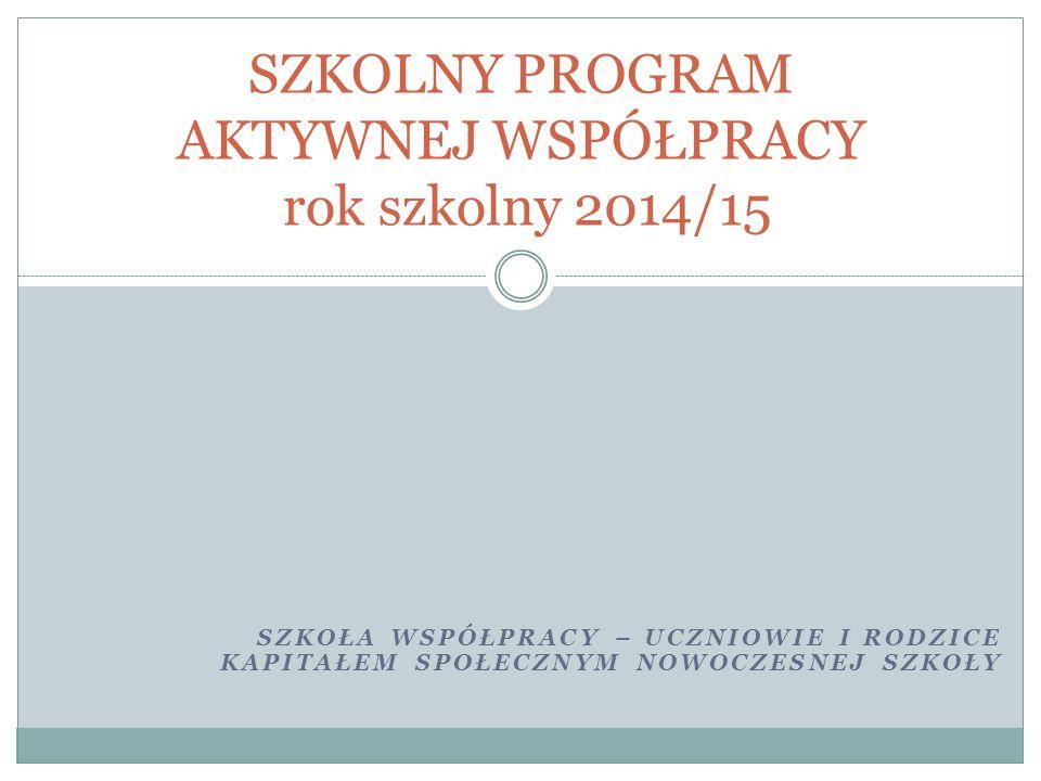 SZKOLNY PROGRAM AKTYWNEJ WSPÓŁPRACY rok szkolny 2014/15