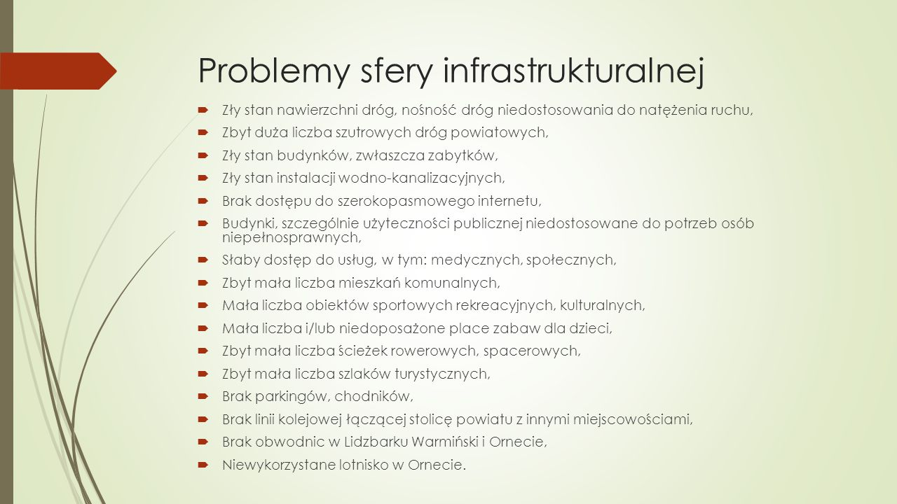 Problemy sfery infrastrukturalnej