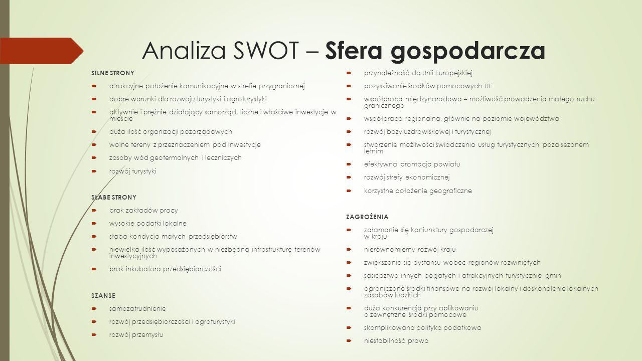 Analiza SWOT – Sfera gospodarcza