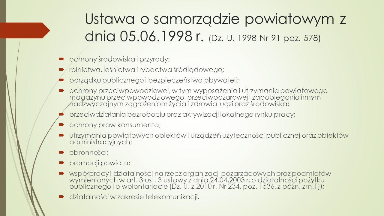 Ustawa o samorządzie powiatowym z dnia 05. 06. 1998 r. (Dz. U