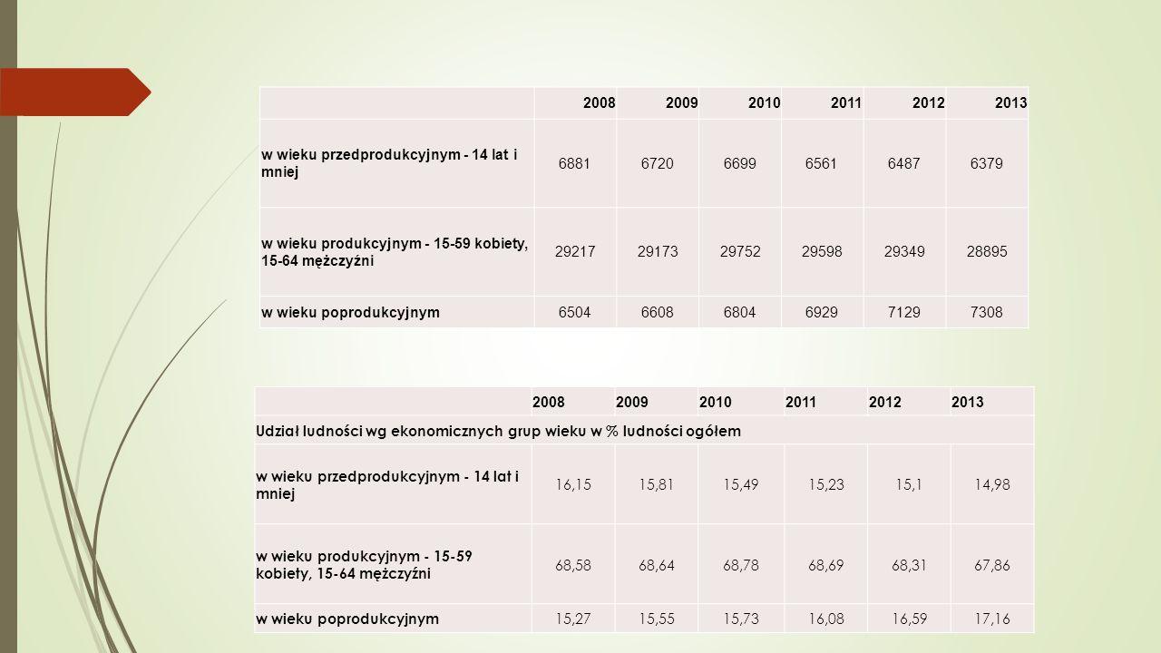 2008. 2009. 2010. 2011. 2012. 2013. w wieku przedprodukcyjnym - 14 lat i mniej. 6881. 6720.