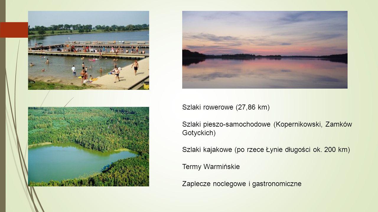 Szlaki rowerowe (27,86 km) Szlaki pieszo-samochodowe (Kopernikowski, Zamków Gotyckich) Szlaki kajakowe (po rzece Łynie długości ok. 200 km)