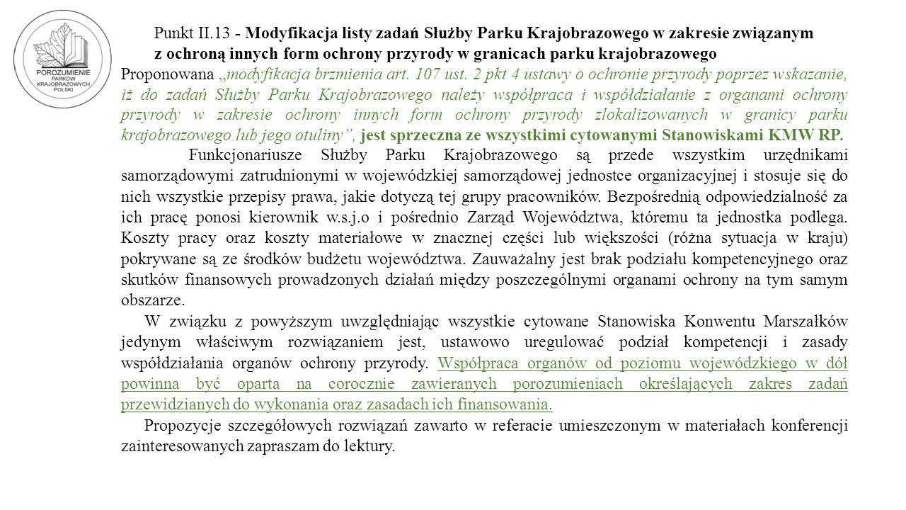 Punkt II.13 - Modyfikacja listy zadań Służby Parku Krajobrazowego w zakresie związanym