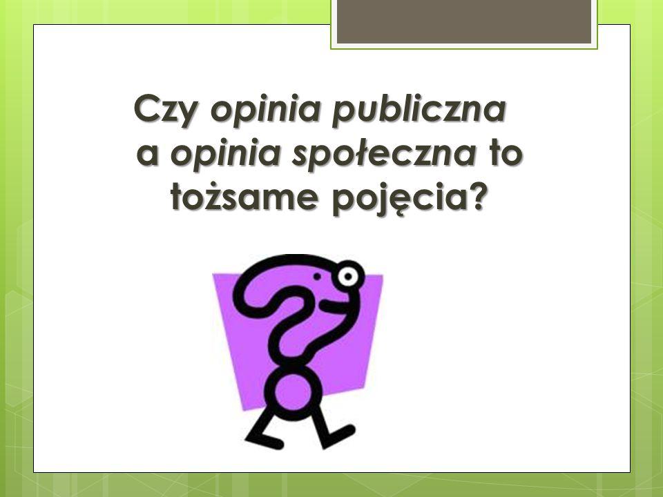 Czy opinia publiczna a opinia społeczna to tożsame pojęcia