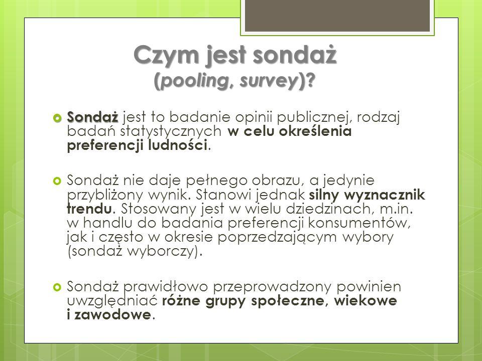Czym jest sondaż (pooling, survey)