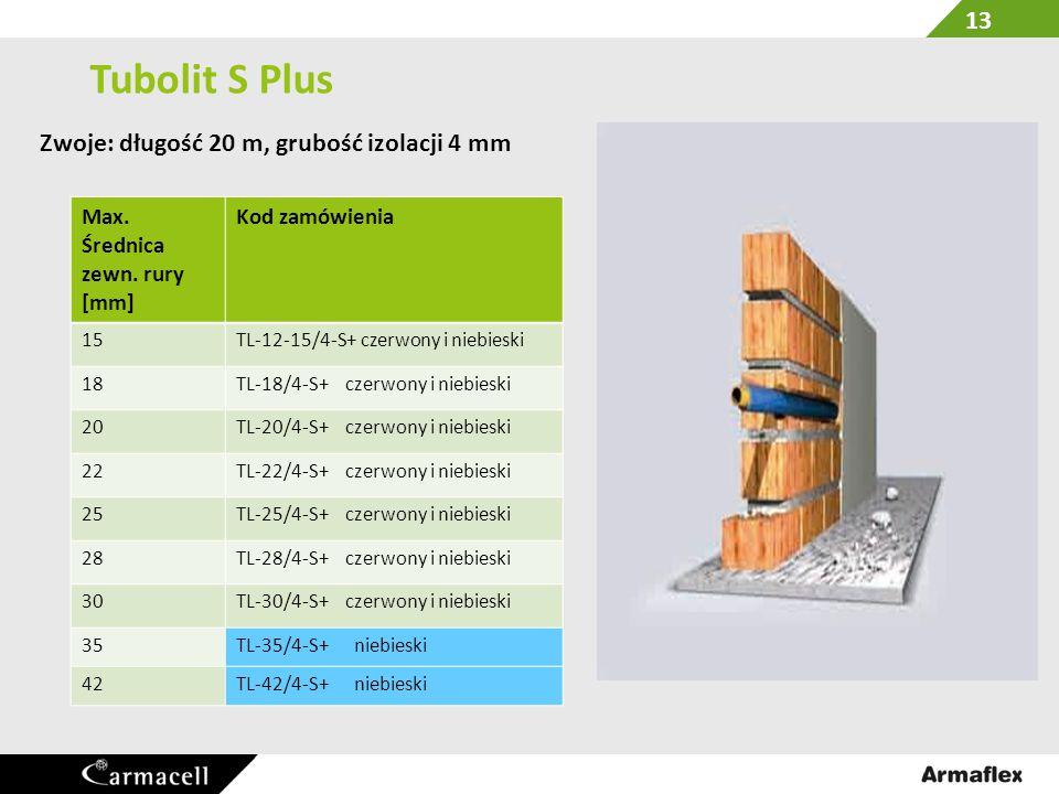 Tubolit S Plus Zwoje: długość 20 m, grubość izolacji 4 mm