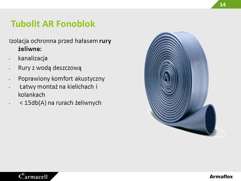 Tubolit AR Fonoblok Izolacja ochronna przed hałasem rury żeliwne: