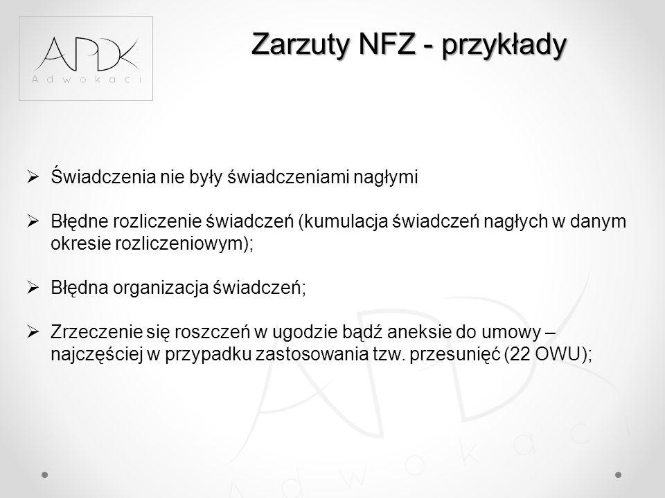 Zarzuty NFZ - przykłady