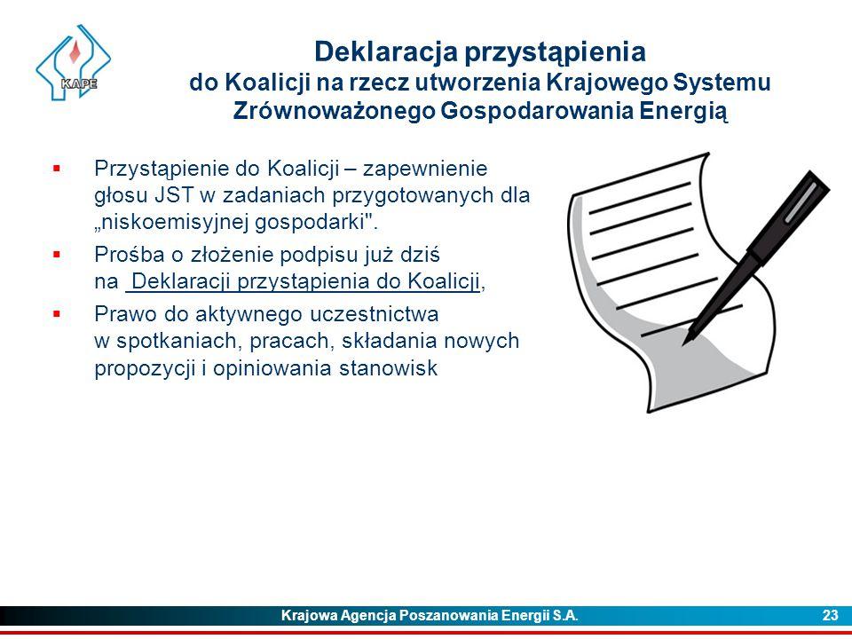Deklaracja przystąpienia do Koalicji na rzecz utworzenia Krajowego Systemu Zrównoważonego Gospodarowania Energią