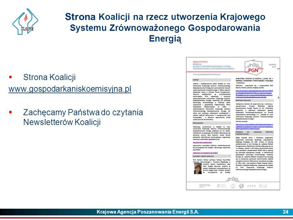 Strona Koalicji na rzecz utworzenia Krajowego Systemu Zrównoważonego Gospodarowania Energią