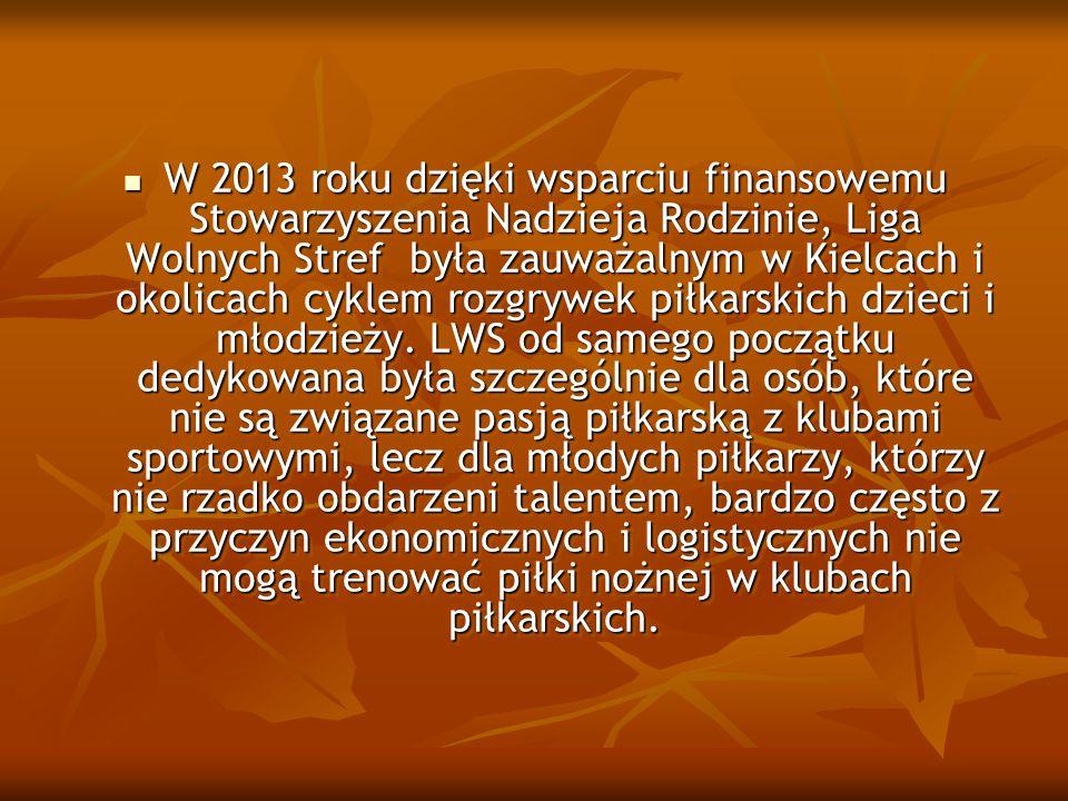 W 2013 roku dzięki wsparciu finansowemu Stowarzyszenia Nadzieja Rodzinie, Liga Wolnych Stref była zauważalnym w Kielcach i okolicach cyklem rozgrywek piłkarskich dzieci i młodzieży.
