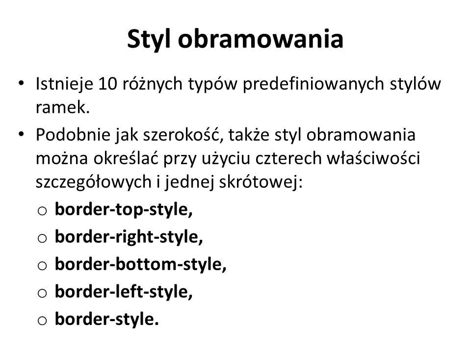 Styl obramowania Istnieje 10 różnych typów predefiniowanych stylów ramek.
