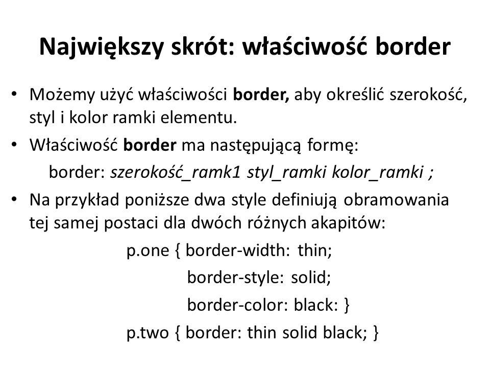 Największy skrót: właściwość border