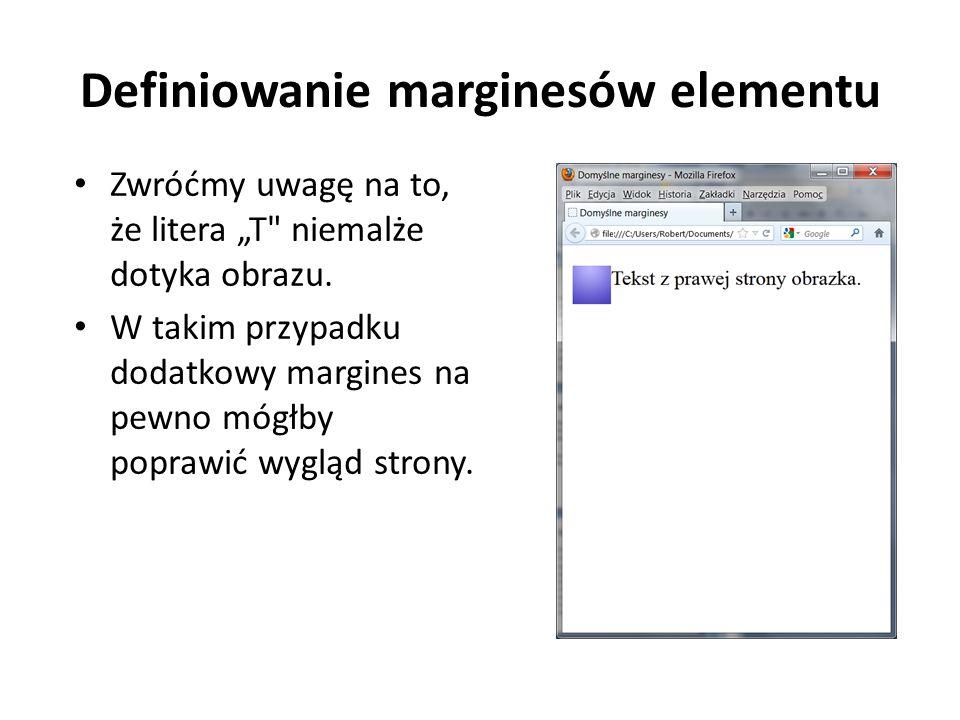 Definiowanie marginesów elementu