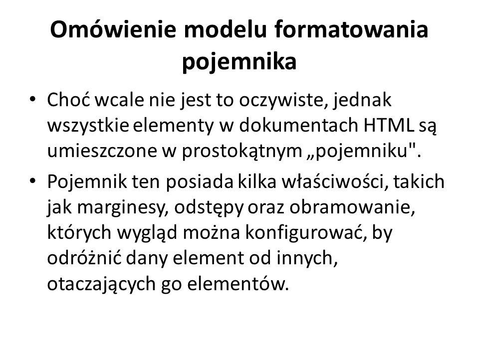 Omówienie modelu formatowania pojemnika