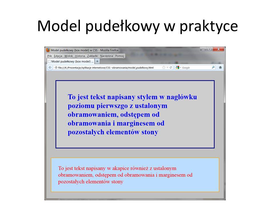 Model pudełkowy w praktyce