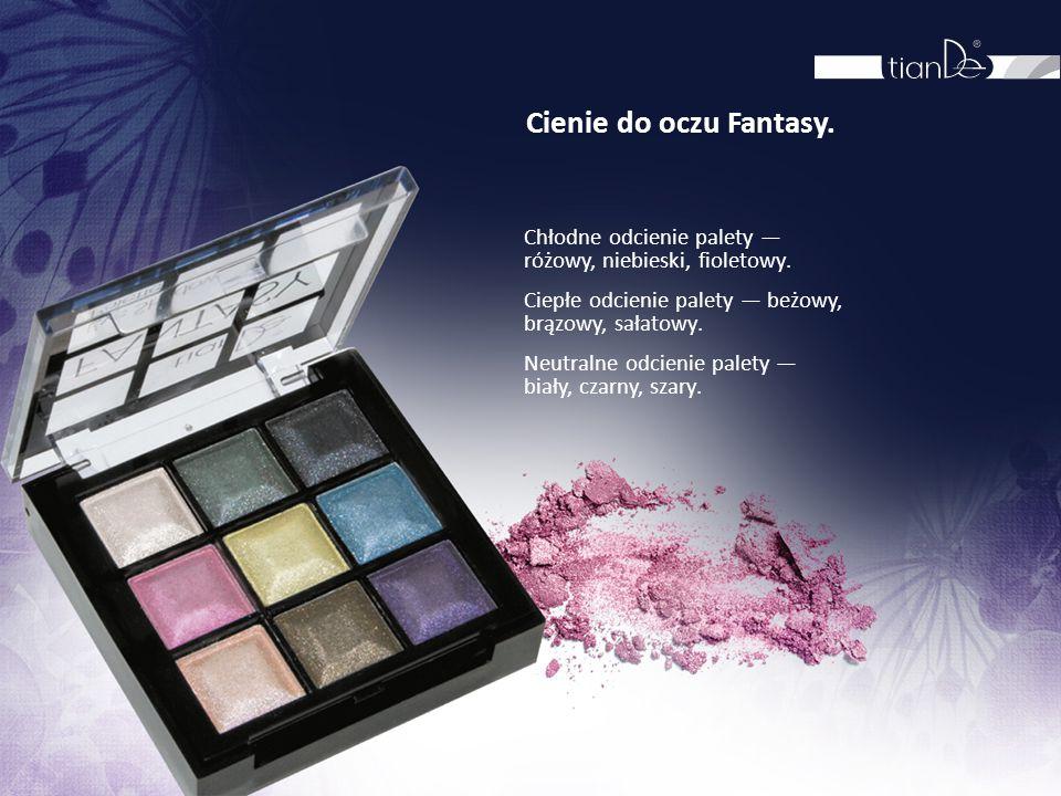 Cienie do oczu Fantasy. Chłodne odcienie palety — różowy, niebieski, fioletowy. Ciepłe odcienie palety — beżowy, brązowy, sałatowy.