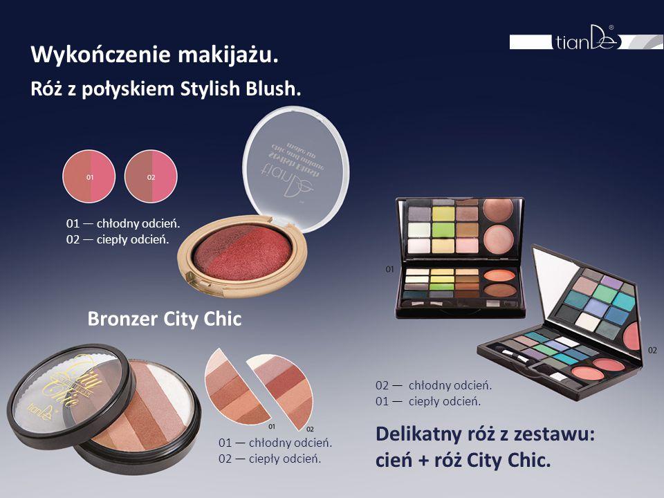 Wykończenie makijażu. Róż z połyskiem Stylish Blush. Bronzer City Chic