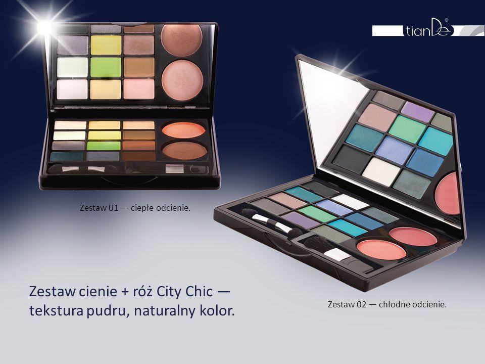 Zestaw cienie + róż City Chic — tekstura pudru, naturalny kolor.