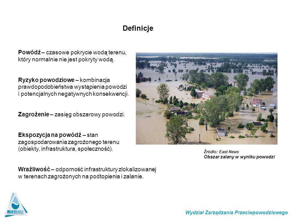 Definicje Powódź – czasowe pokrycie wodą terenu, który normalnie nie jest pokryty wodą.