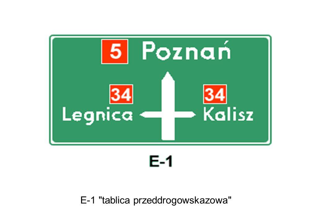 E-1 tablica przeddrogowskazowa