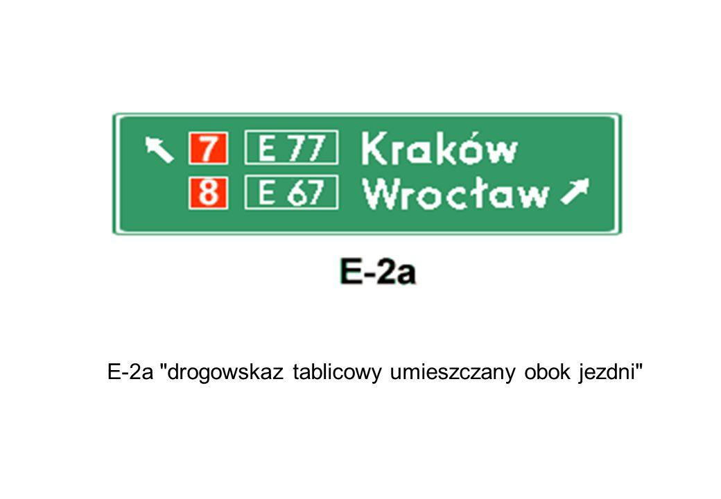 E-2a drogowskaz tablicowy umieszczany obok jezdni