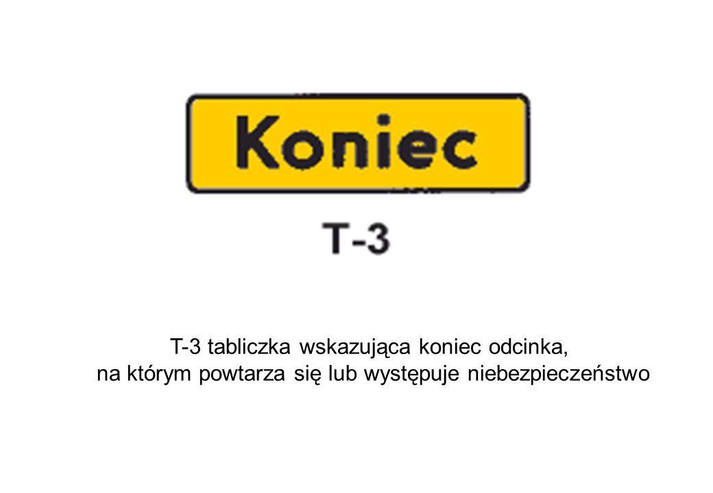 T-3 tabliczka wskazująca koniec odcinka,