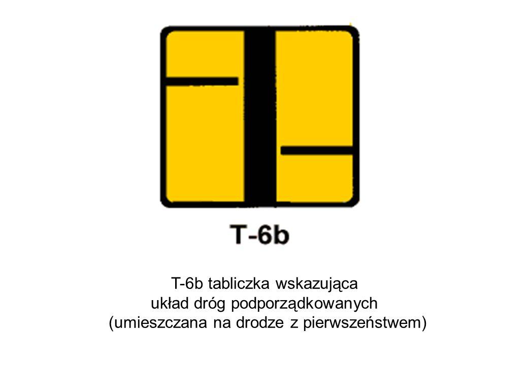 T-6b tabliczka wskazująca układ dróg podporządkowanych