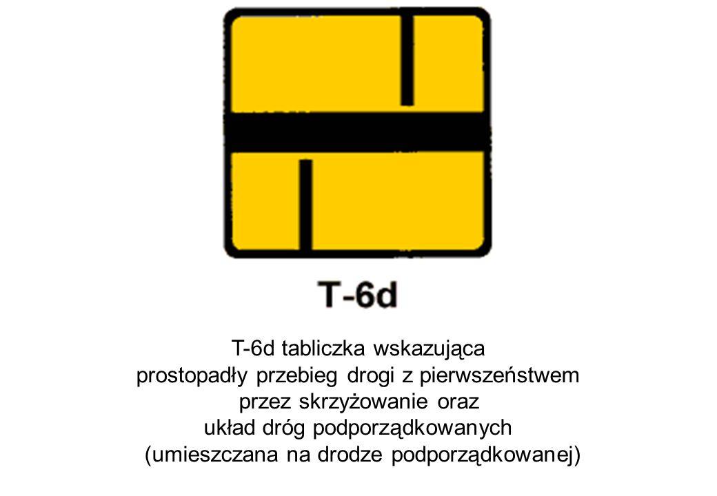 T-6d tabliczka wskazująca prostopadły przebieg drogi z pierwszeństwem
