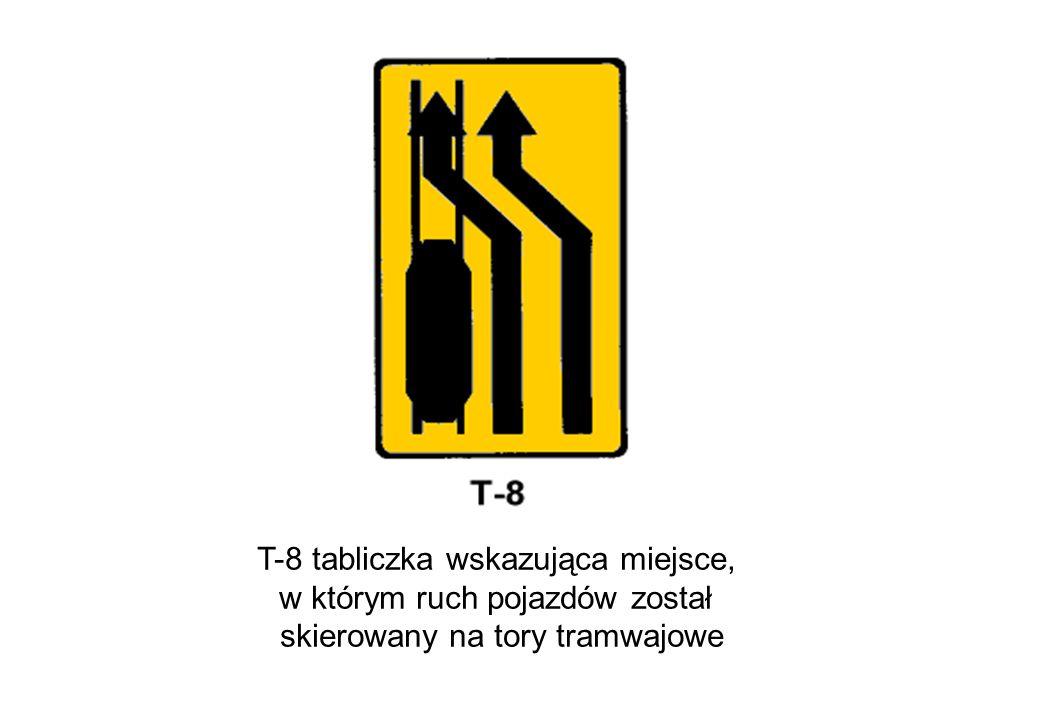 T-8 tabliczka wskazująca miejsce, w którym ruch pojazdów został