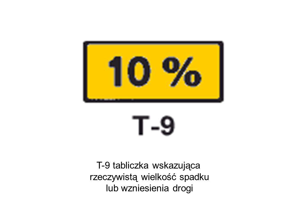 T-9 tabliczka wskazująca rzeczywistą wielkość spadku