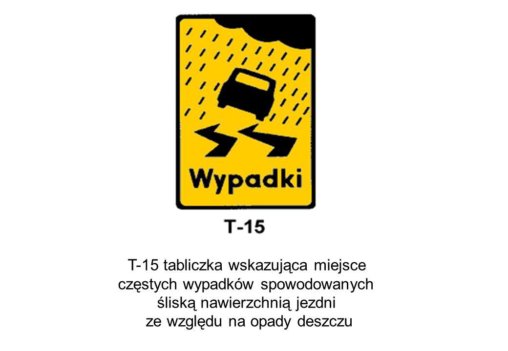 T-15 tabliczka wskazująca miejsce częstych wypadków spowodowanych