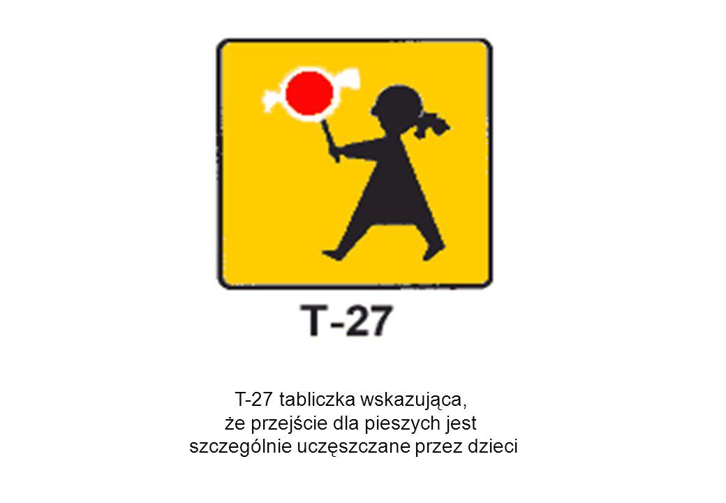 T-27 tabliczka wskazująca, że przejście dla pieszych jest