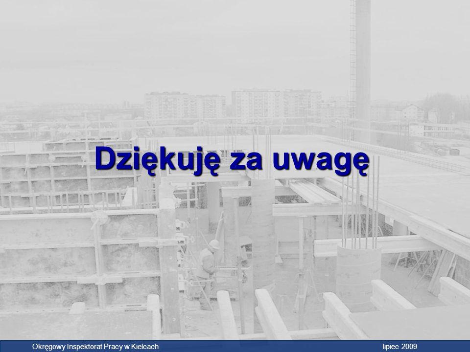 Dziękuję za uwagę Okręgowy Inspektorat Pracy w Kielcach lipiec 2009