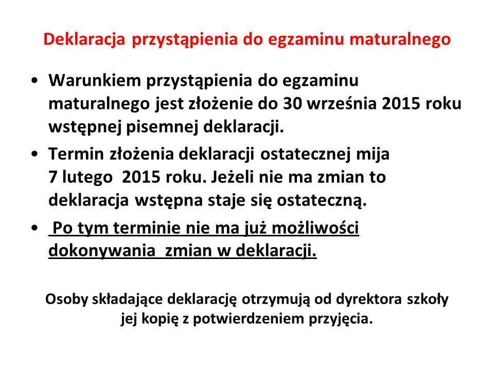 Deklaracja przystąpienia do egzaminu maturalnego